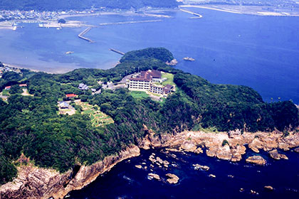 Aerial view of Ugui peninsula and hotel