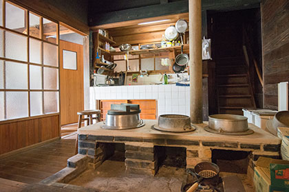 Kitchen with old rice cooker stove