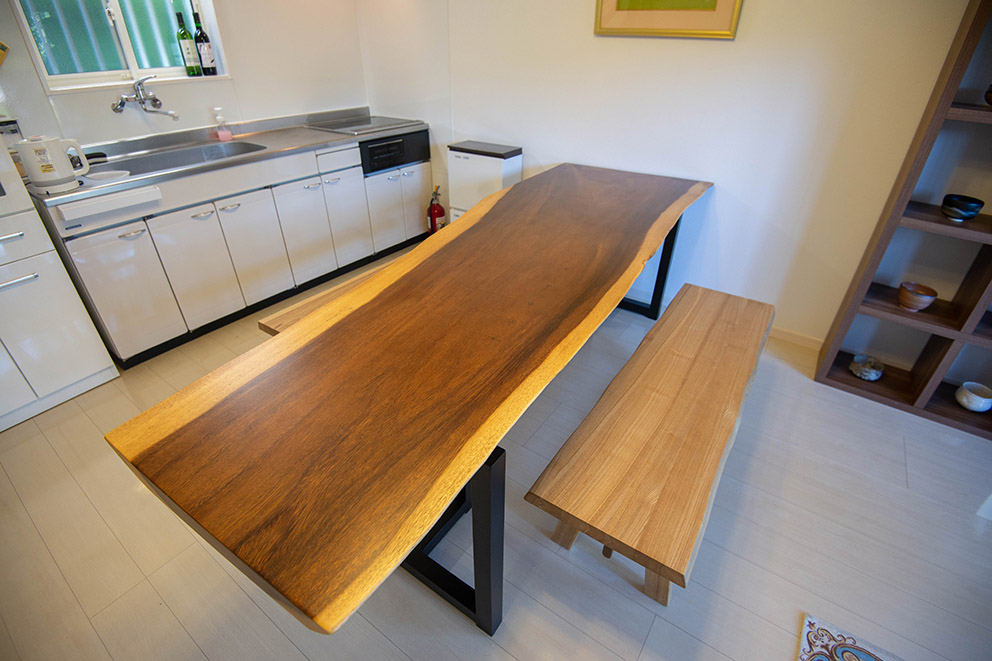 Large wooden table in kitchen
