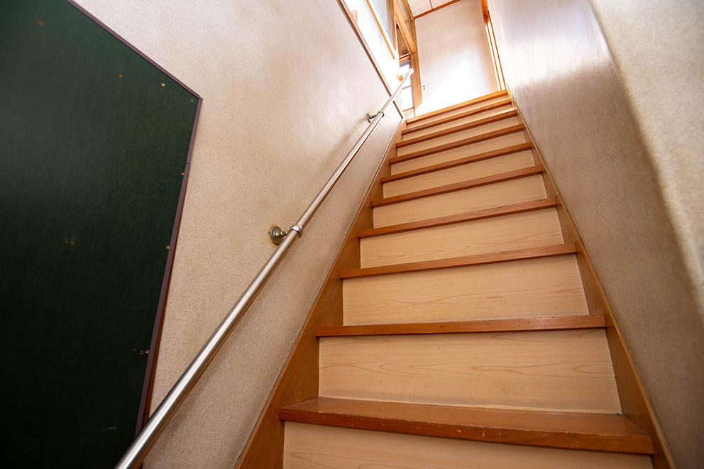 Steep staircase to second floor